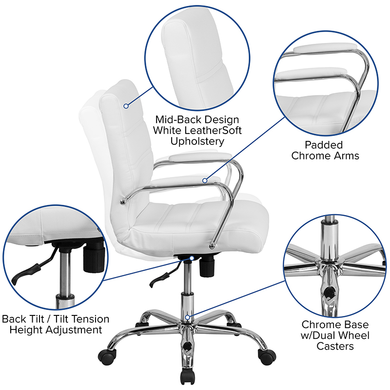 flash furniture contemporary white office chair features