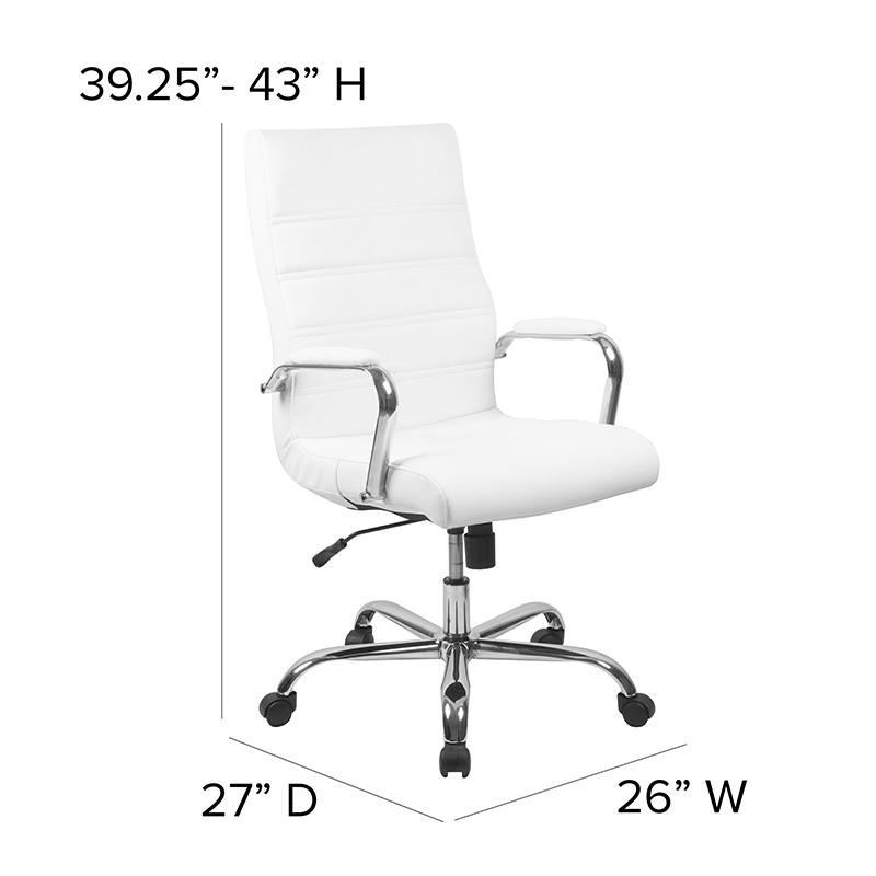 flash furniture contemporary white faux leather office chair dimensions