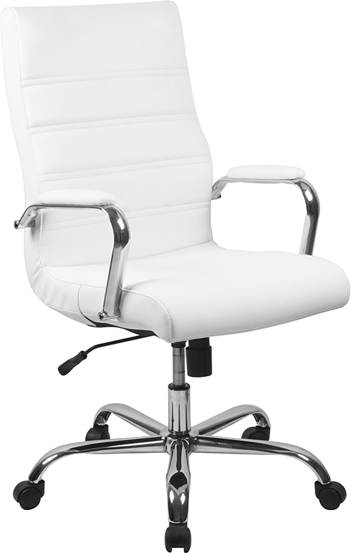 flash furniture contemporary white faux leather office chair