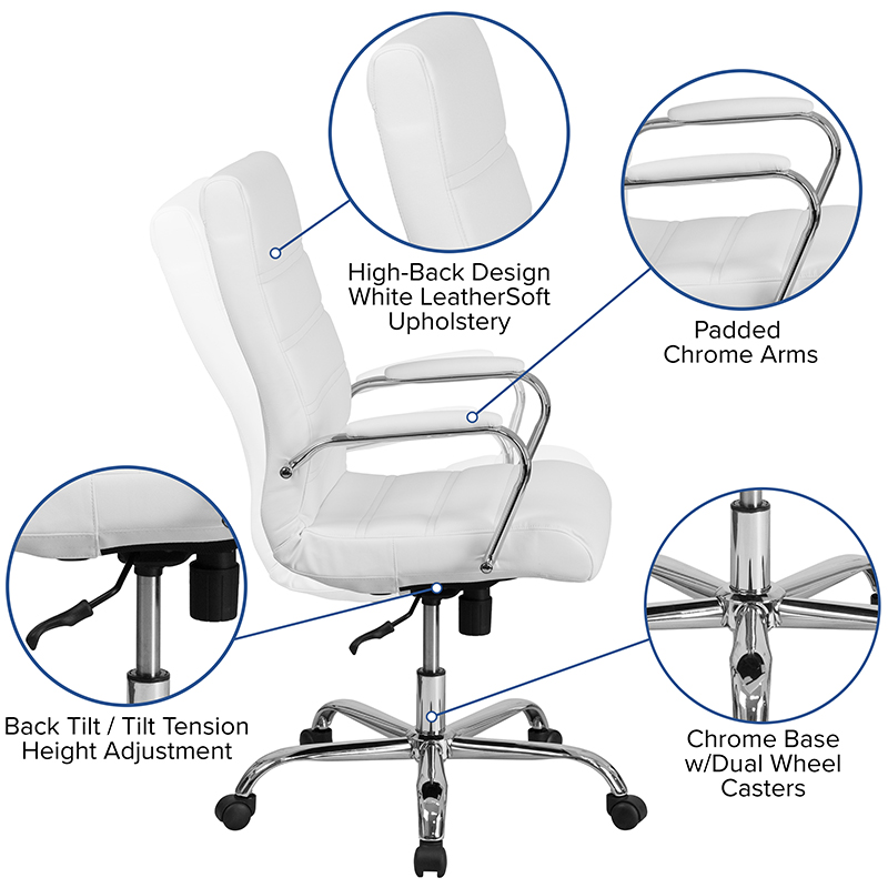 flash furniture contemporary white faux leather office chair features