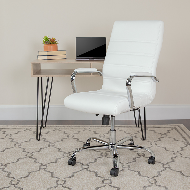 flash furniture contemporary white faux leather office chair in workspace