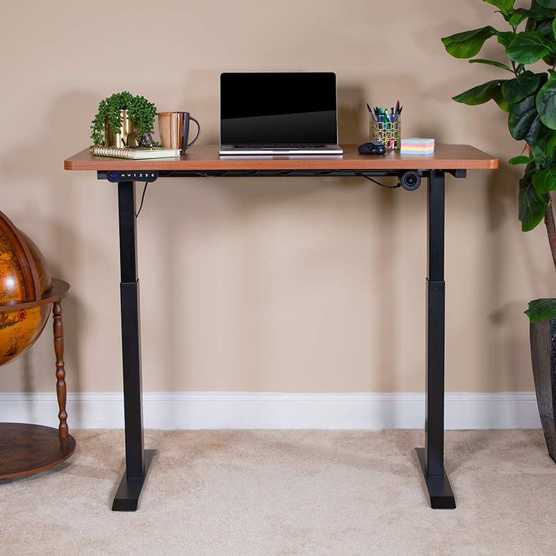 height adjustable electric desk fully raised