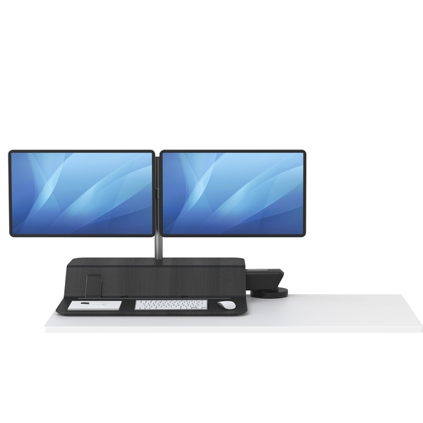 lotus rt2 dual monitor sit to stand attachment - lowered