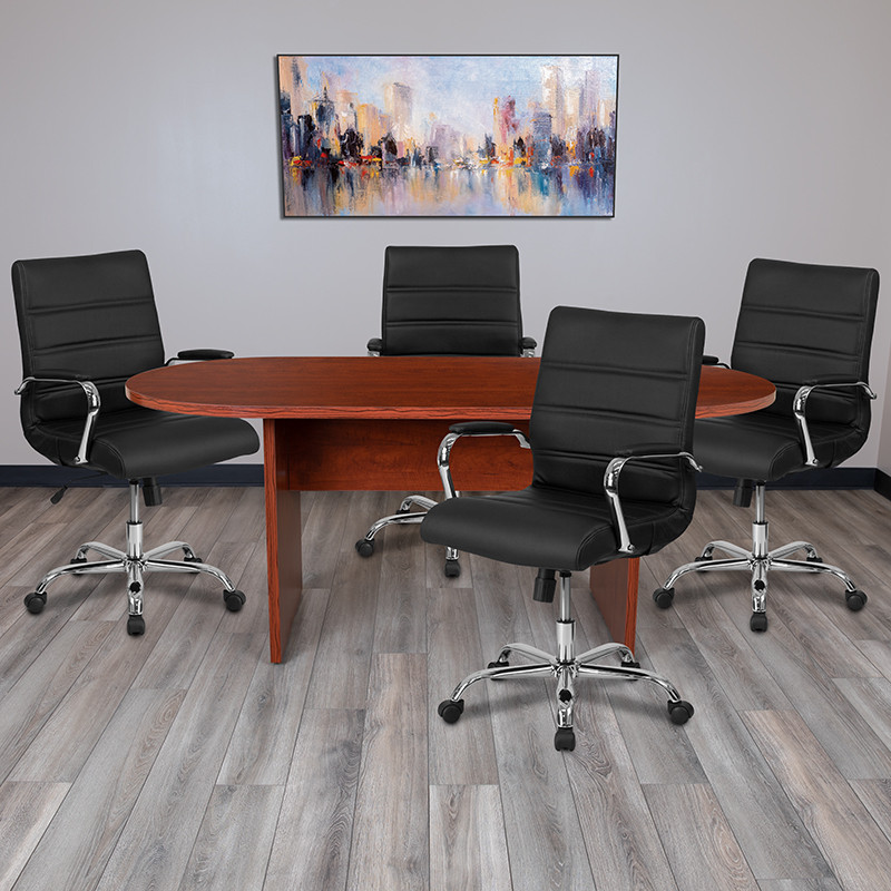 cherry conference table and black leather chairs