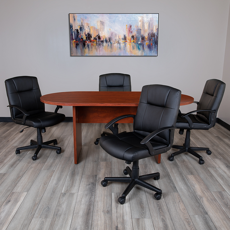 cherry conference table with 4 black chairs set