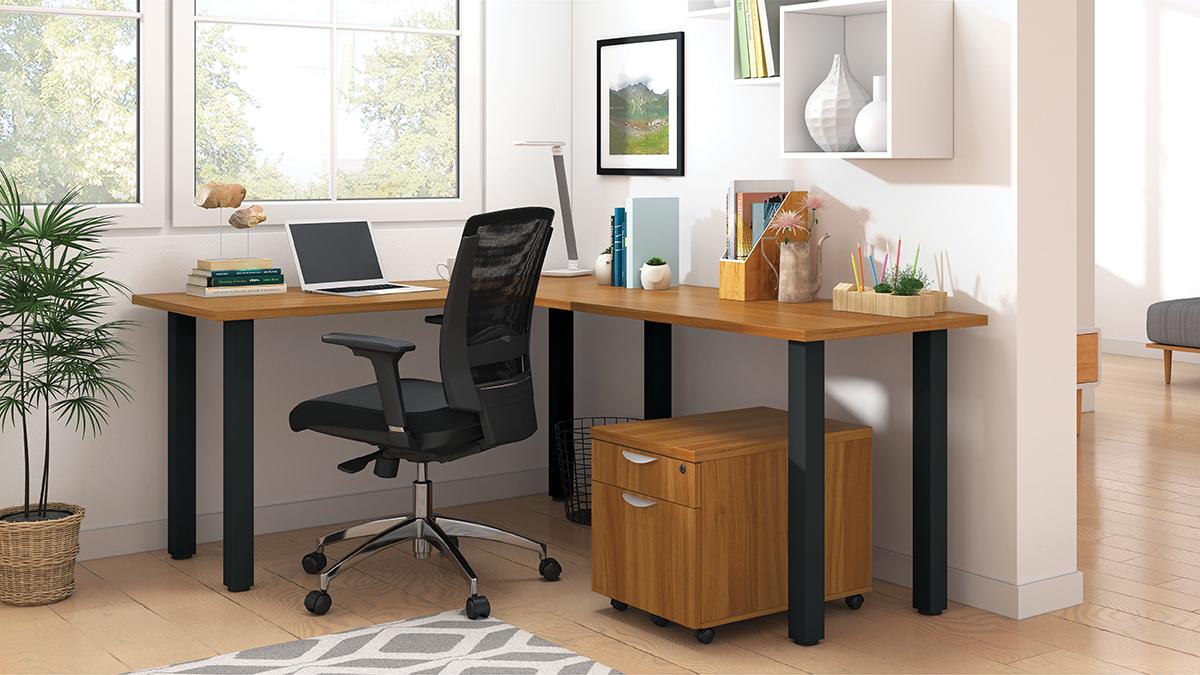 superior laminate l-desk in autumn walnut