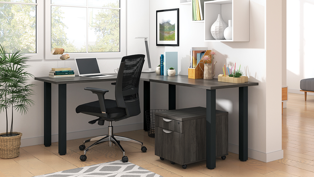 superior laminate l-desk in artisan grey