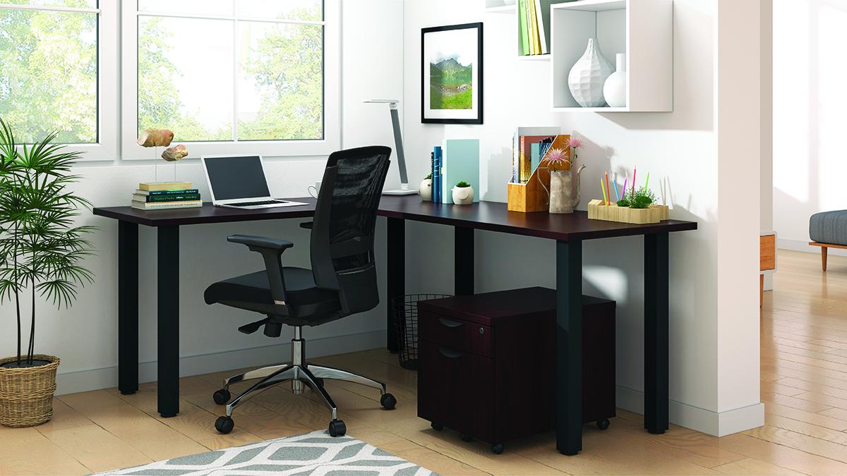superior laminate l-desk in mahogany