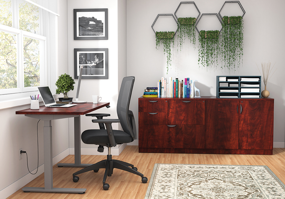 otg superior laminate ergonomic desk with cabinets in dark cherry
