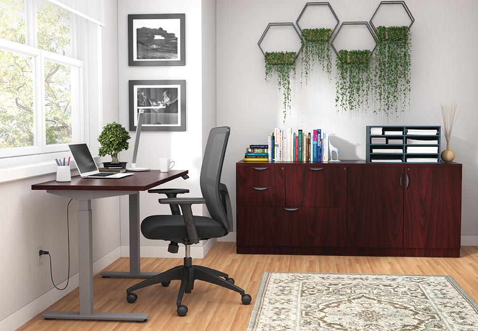 otg superior laminate ergonomic desk with cabinets in mahogany