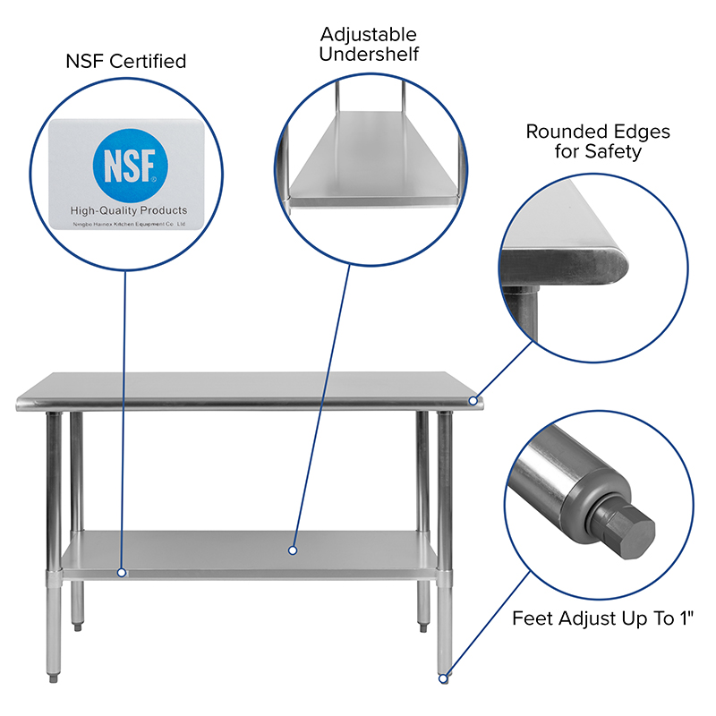 stainless steel prep table features