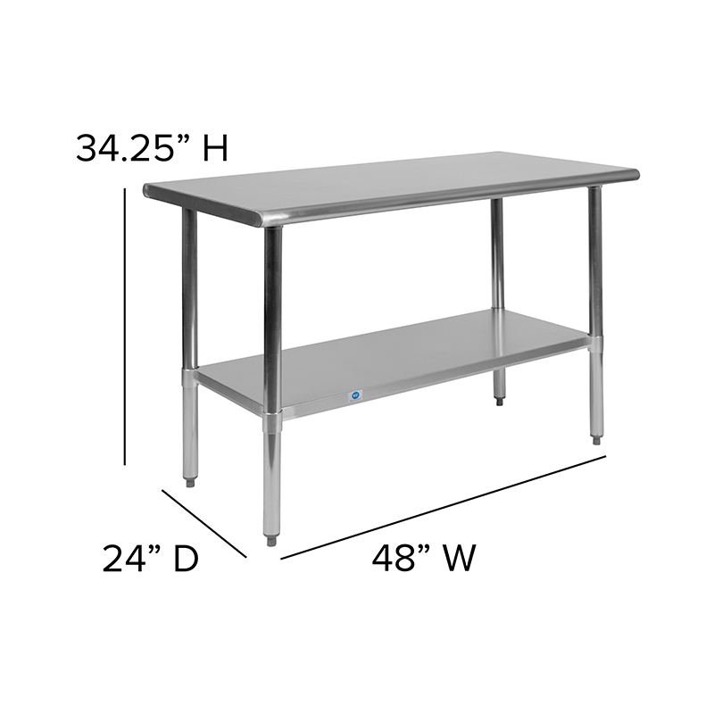 stainless steel prep table dimensions