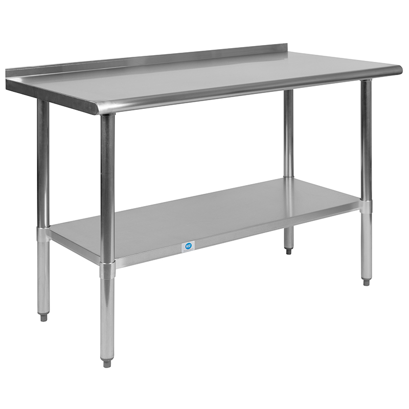 stainless steel work table with backsplash