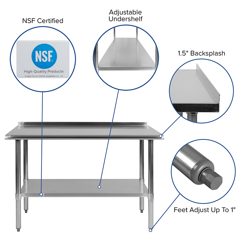 stainless steel work table with backsplash features