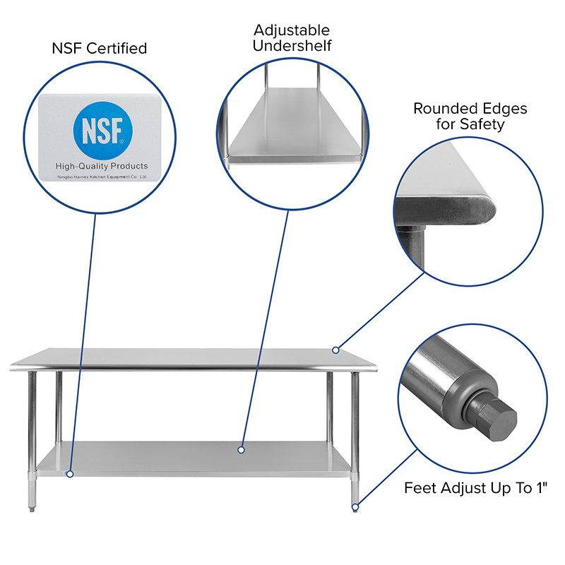 stainless table features