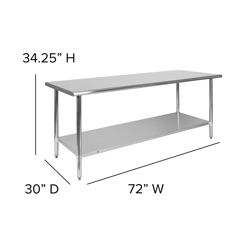 stainless table dimensions