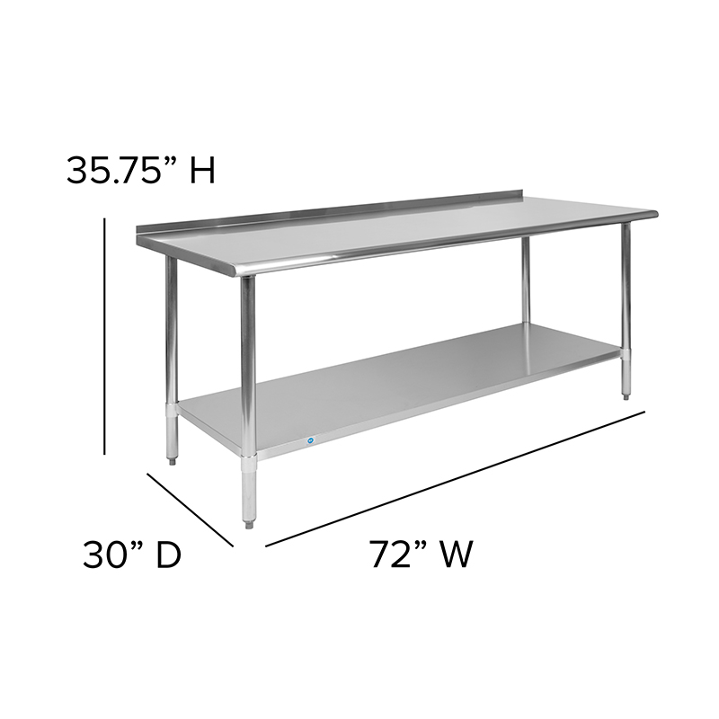 stainless table with backsplash dimensions