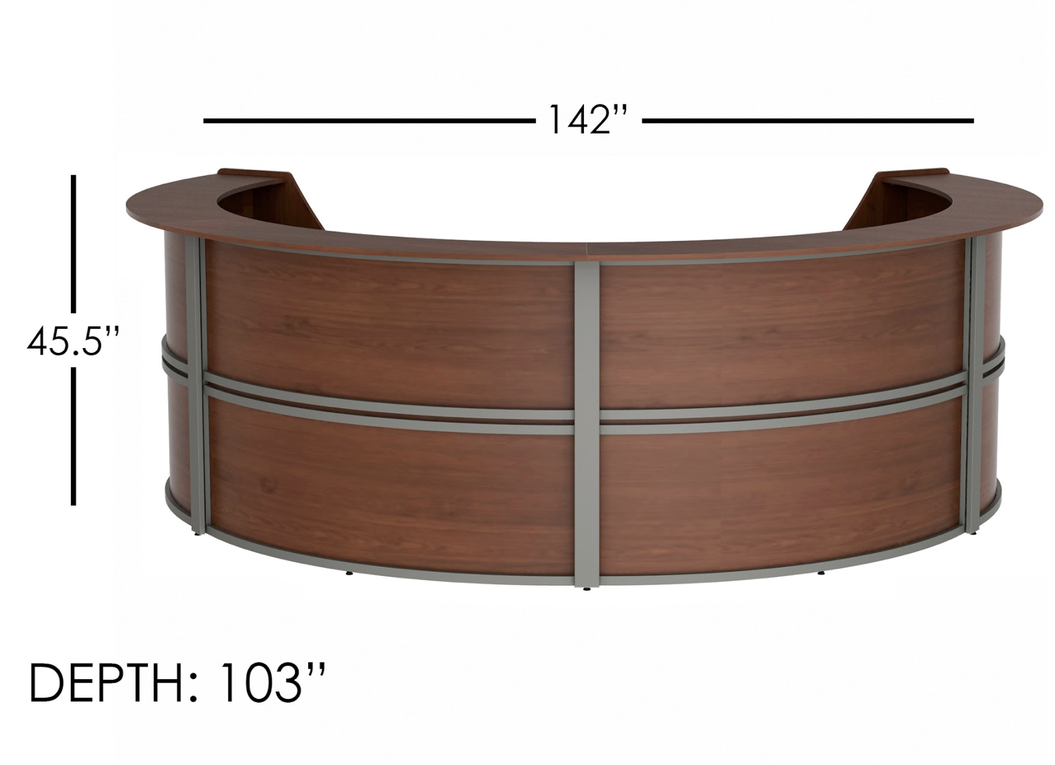 large white reception station dimensions
