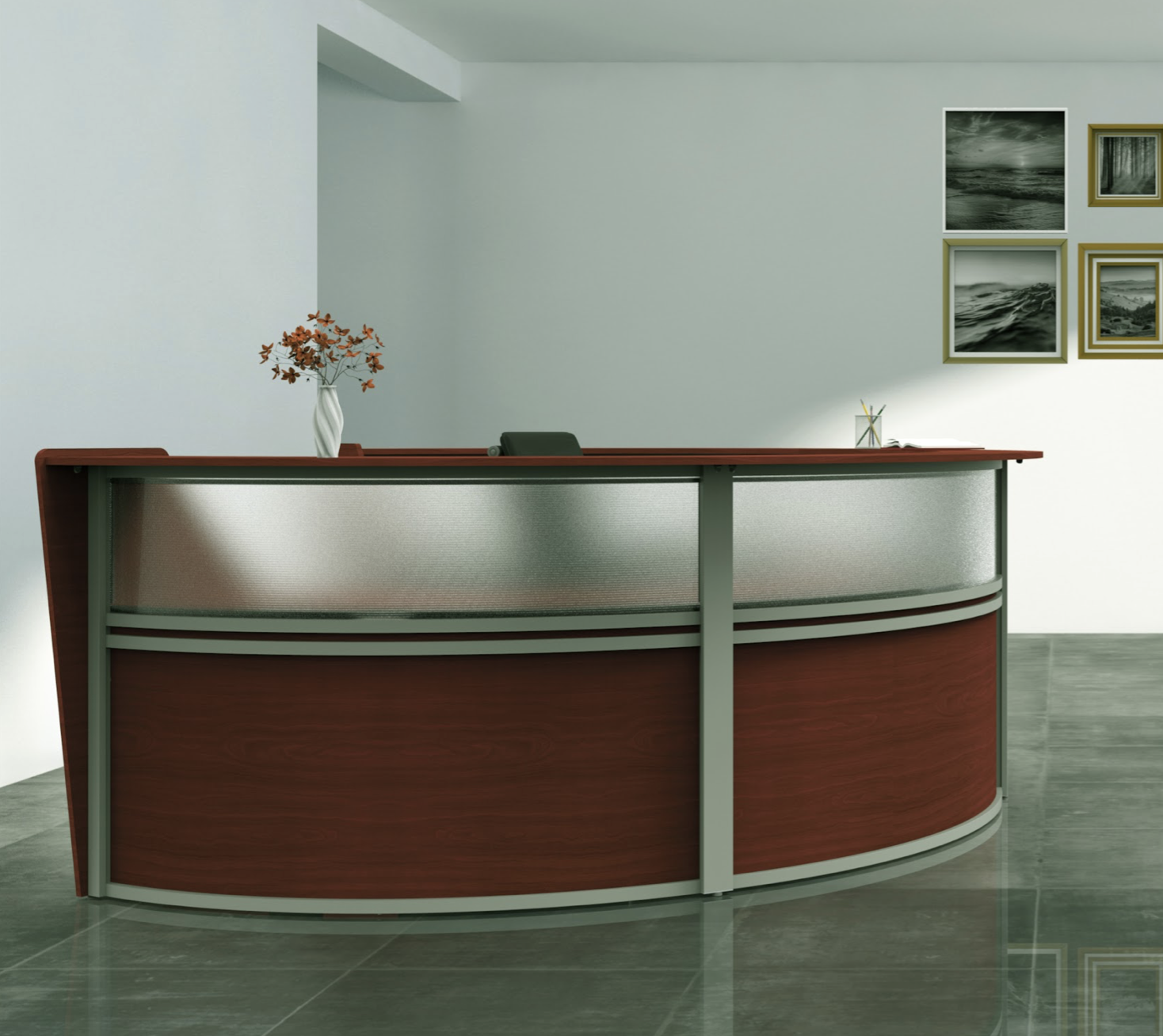 cherry  2 person curved reception desk side view
