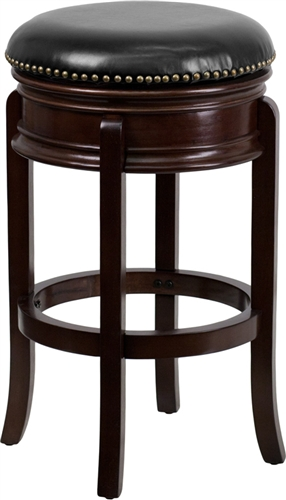 """Flash Furniture 29"""" Cappuccino Finished Wood Bar Stool with Leather Seat"""