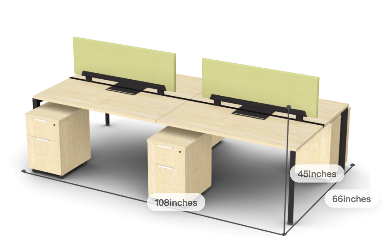 Friant Verity 4 Person Open Concept Workstation with Privacy Screens