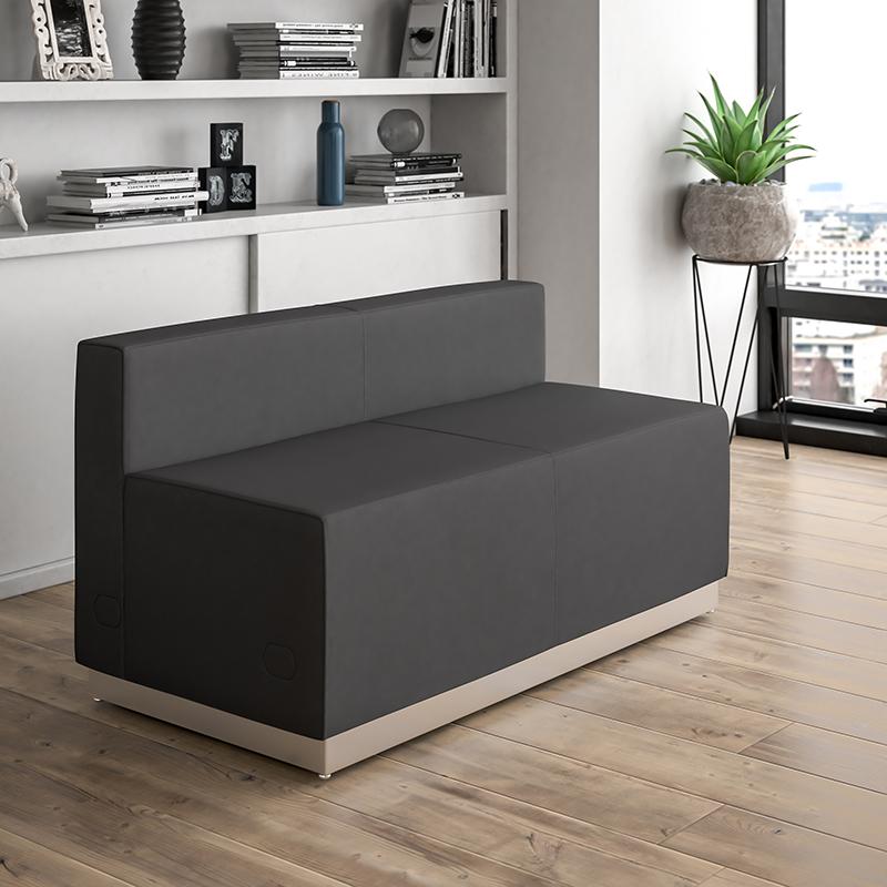 Flash Furniture Alon Series Black Leather Loveseat