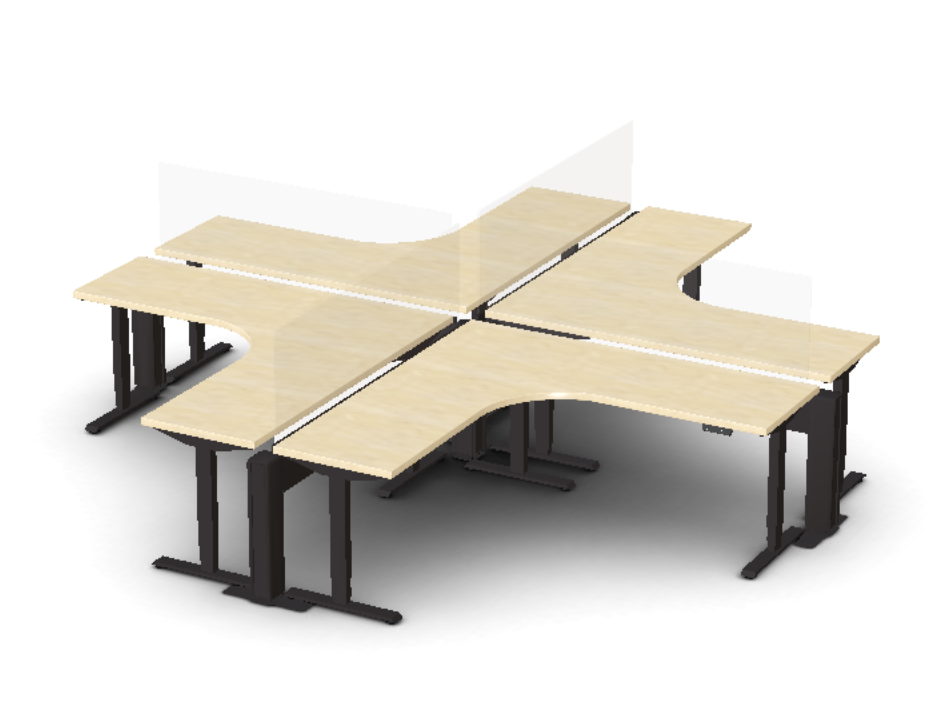 Friant My-Hite 4 Person Sit-To-Stand Cluster Workstation FMH-4008