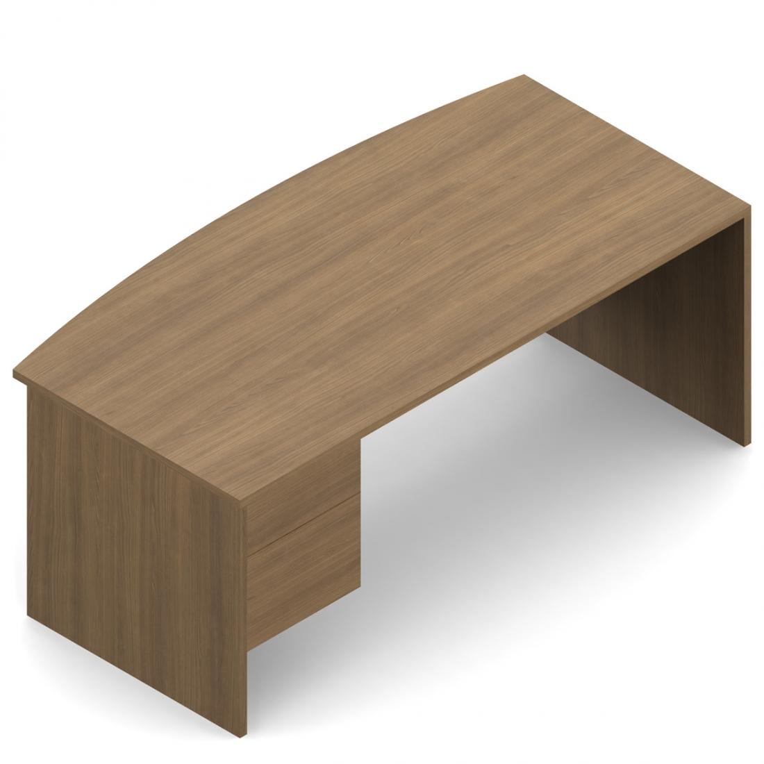 """Global Genoa 72"""" x 36"""" Bow Front Suspended Pedestal Desk"""