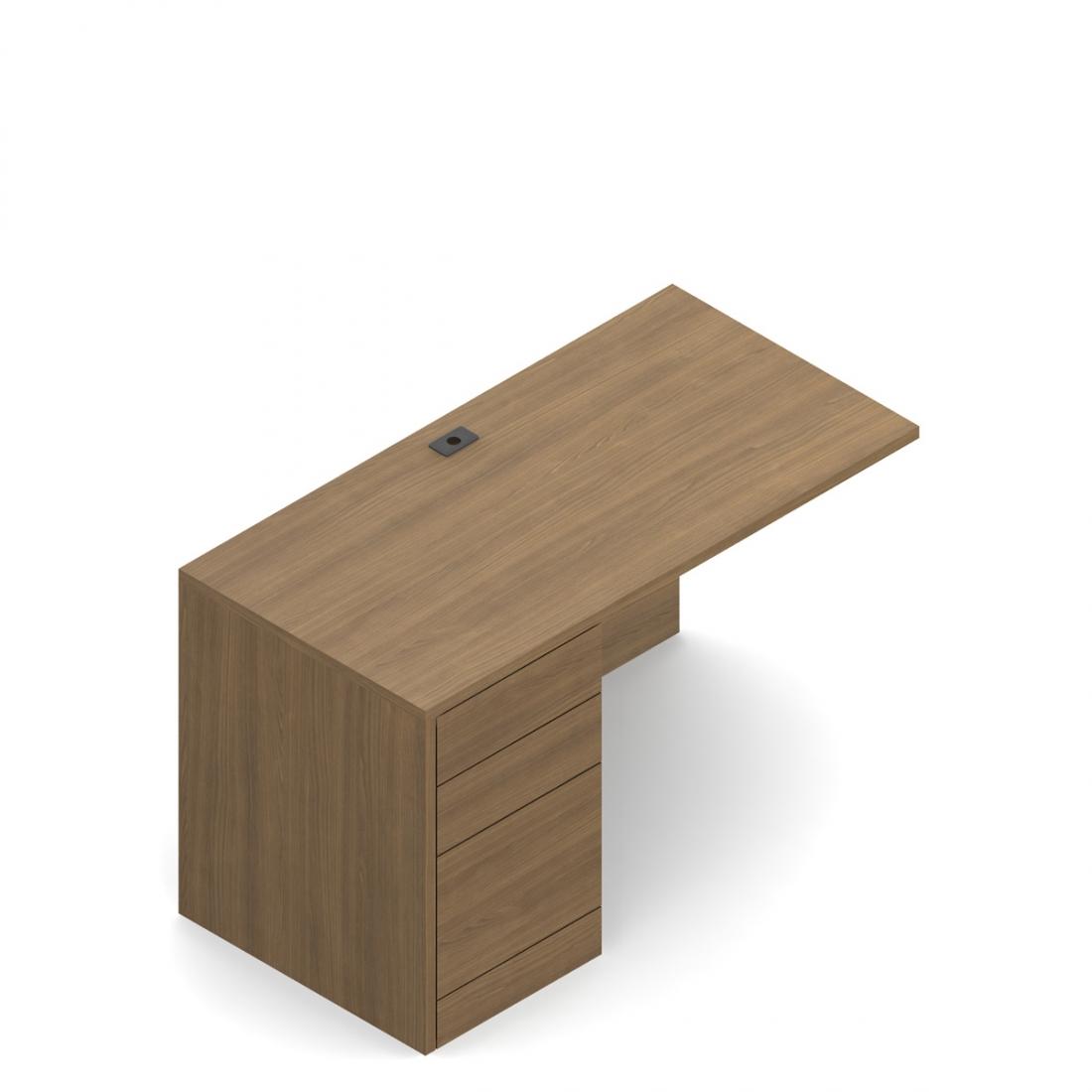 """Global Genoa 36"""" x 20"""" Left Side Desk Return with Pedestal"""