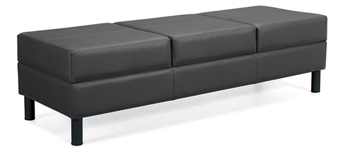 Global Citi Series Three Seat Leather Reception Bench 7894LF