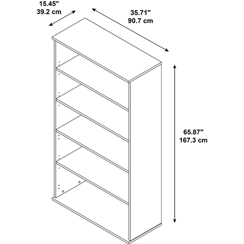 Bush 5 Shelf Executive Bookcase