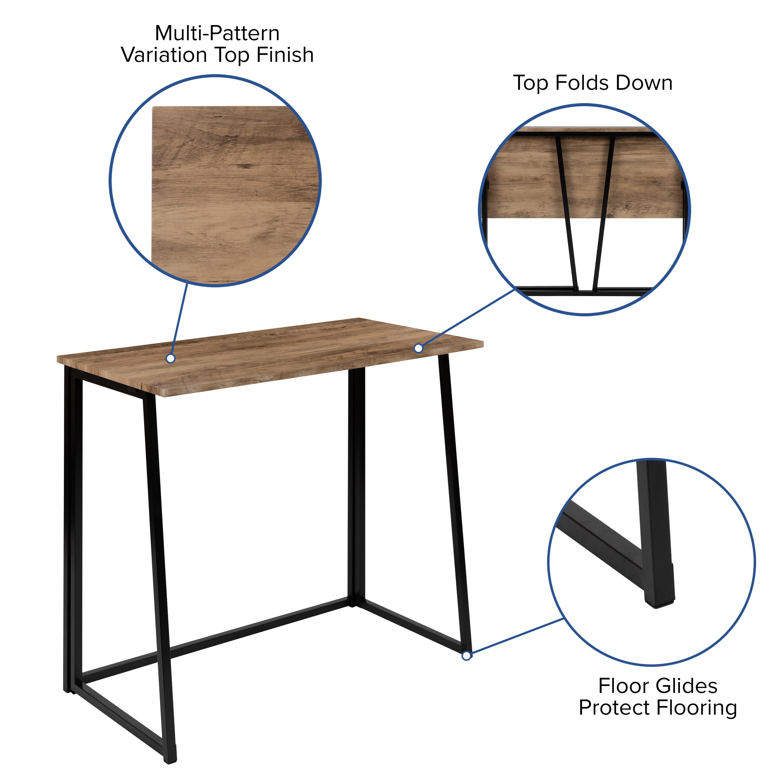 "Flash Furniture 36"" Rustic Natural Home Office Folding Computer Desk"