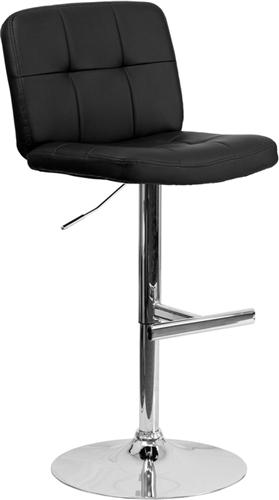 Flash Furniture Armless Black Vinyl Bar Stool with Chrome Base