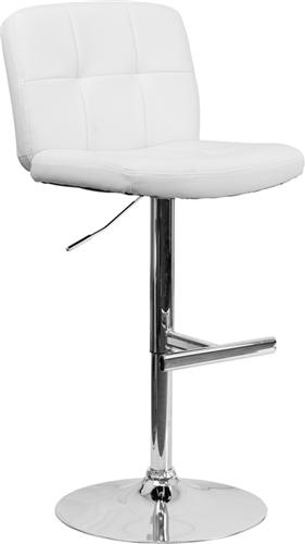 Flash Furniture Armless White Vinyl Bar Stool with Chrome Base