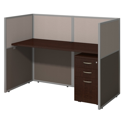 "Bush Easy Office 60"" Personal Workstation with Mobile File Cabinet EOD260SMR"