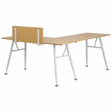 Flash Furniture Beech Laminate L-Shape Computer Desk with White Frame