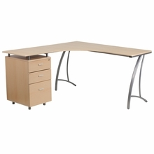 Flash Furniture Beech Laminate L-Shaped Desk with 3 Drawer Pedestal