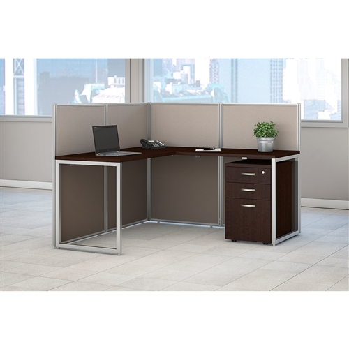 Bush Easy Office L Shaped Cubicle Desk with File Pedestal EOD360SMR