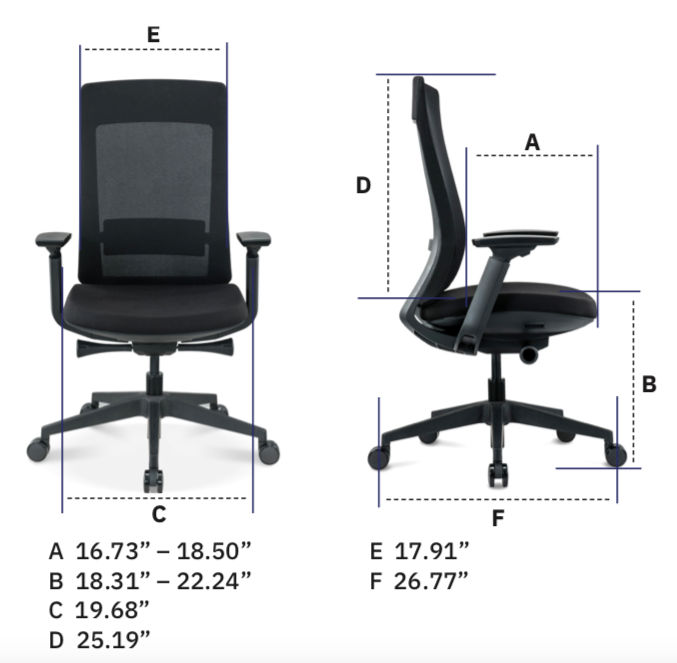 eurotech seating elevate chair labeled dimensions