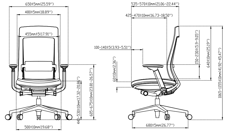 eurotech elevate chair dimensions line drawing