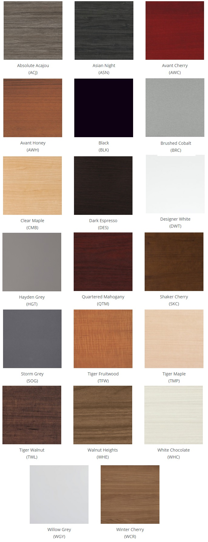 Global Laminate Finish Options - Kadin Tables