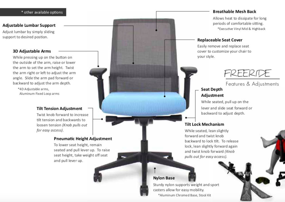 wyatt freeride mesh back task chair features
