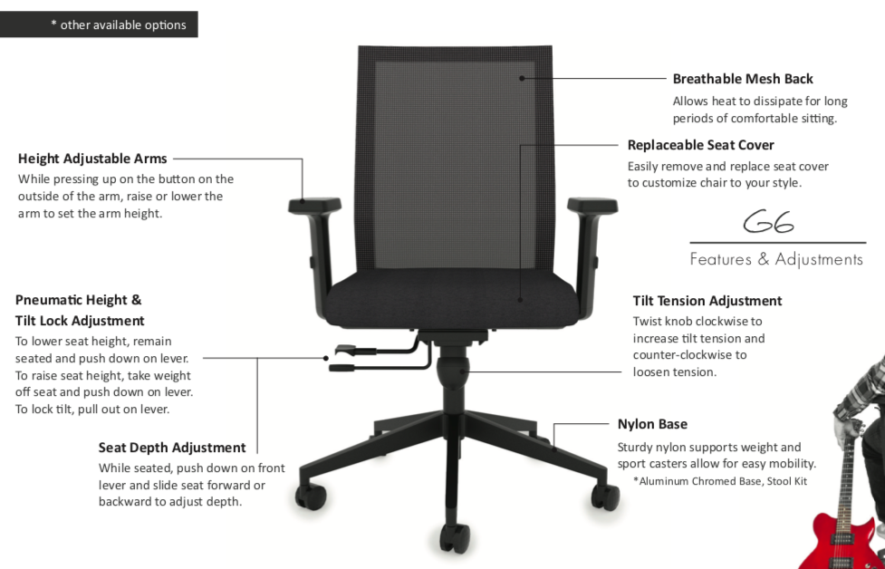 wyatt seating g6 mesh back task chair features