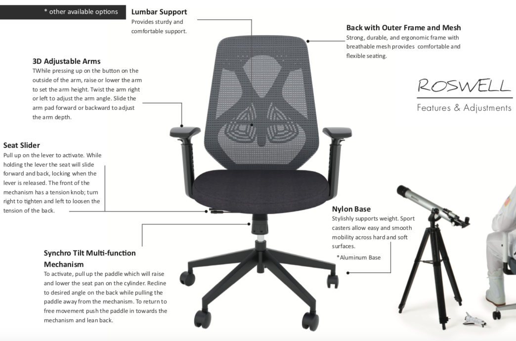 wyatt seating roswell mesh back office chair features