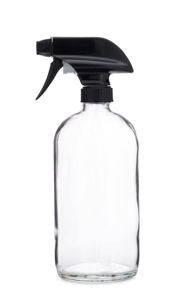 Glass Spray Bottle w/ Black Spray Nozzle