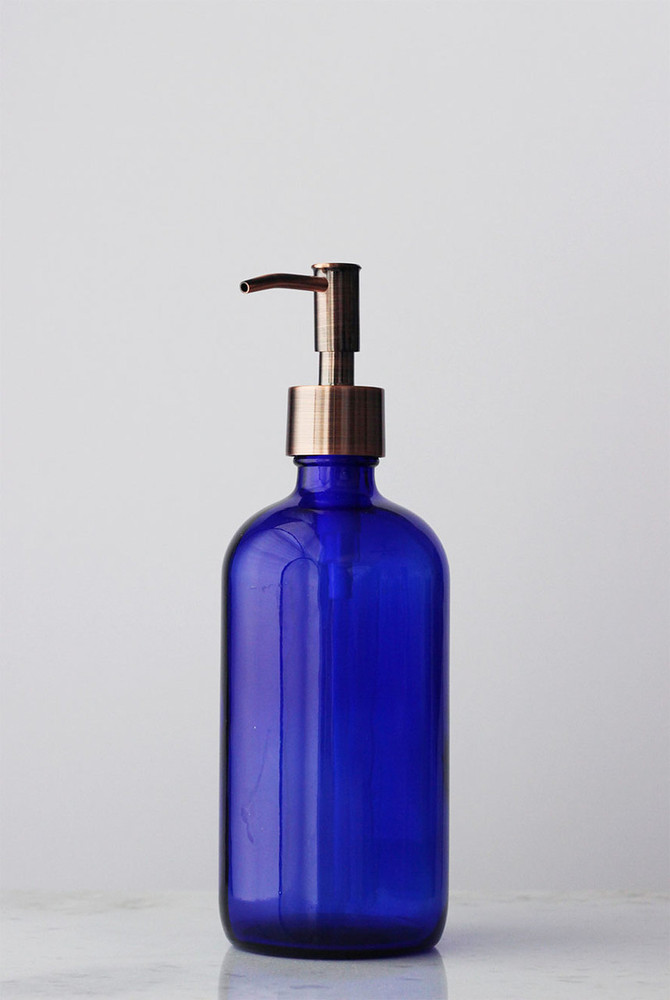 Blue Market Glass Soap Dispenser