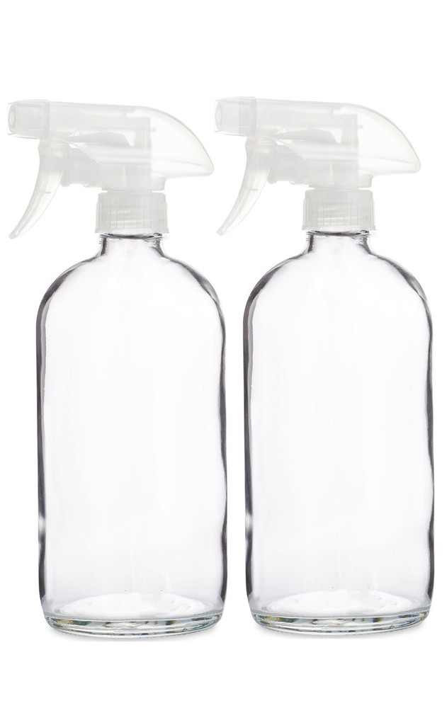 Glass Spray Bottle w/ Clear Spray Nozzle - 2 Pack