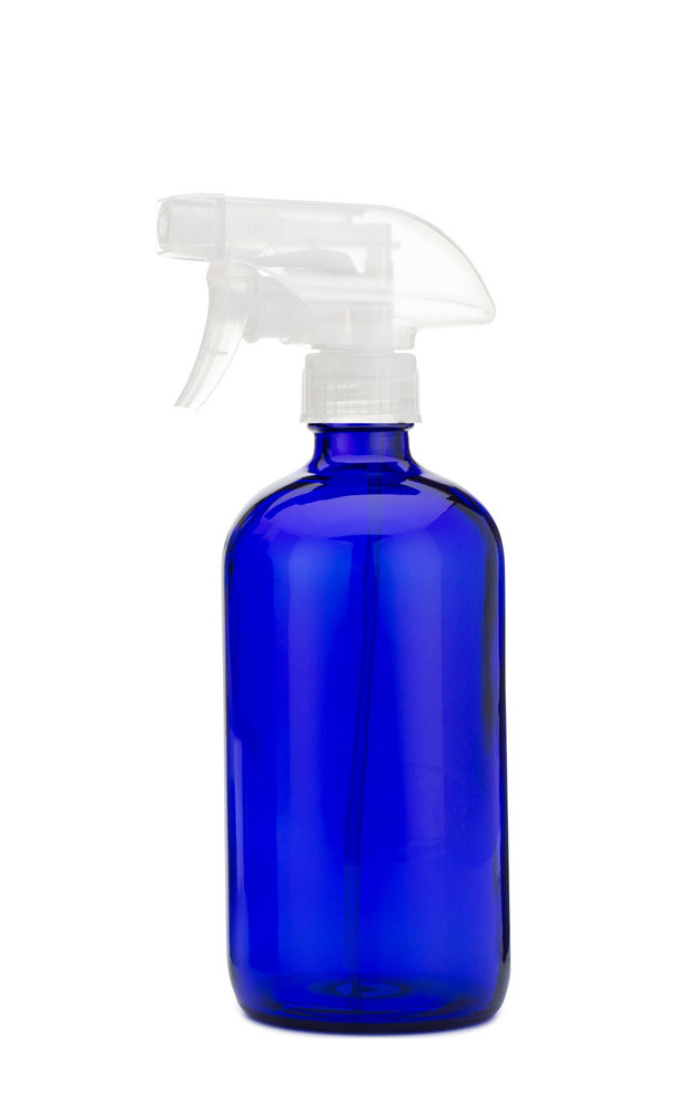 Blue Glass Spray Bottle with Clear Spray Trigger