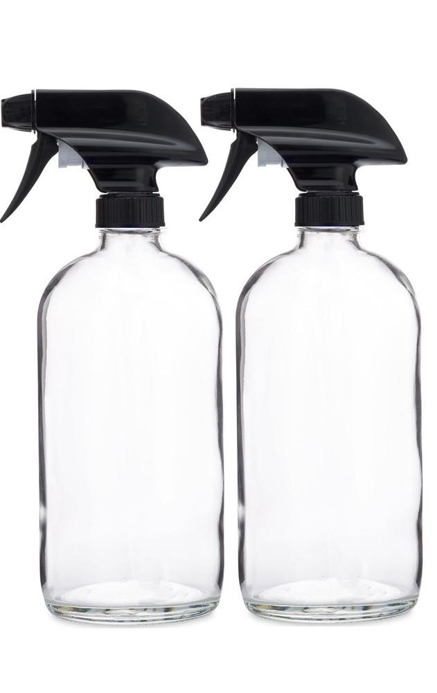 Glass Spray Bottle w/ Black Spray Nozzle - 2 Pack