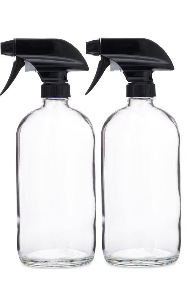 Glass Spray Bottle w/ Black Spray Nozzle - 2 Pack